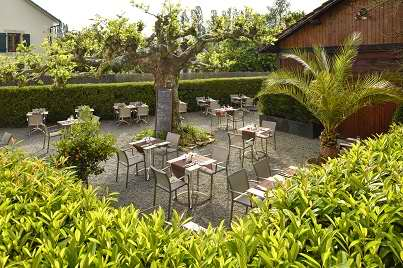 L'auberge - Déjeuner sur la terrasse du restaurant l'auberge a chambesy en suisse