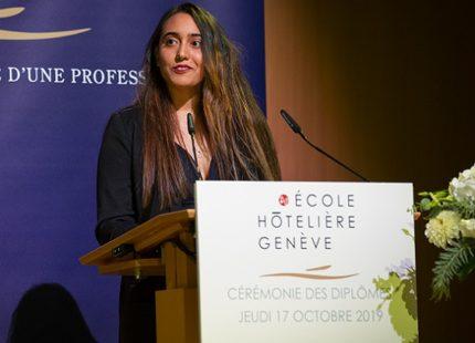 """Rosella Tuveri, Major de Promotion - Ecole Hoteliere de Geneve Cérémonie de remise des diplômes de la promotion """"CHI de Genève"""""""