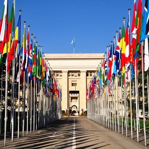 Le restaurant vieux bois à la place des Nations et de l'ONU